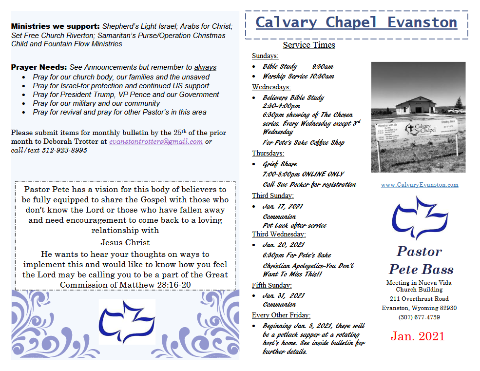 Calvary Evanston January 2021 Bulletin