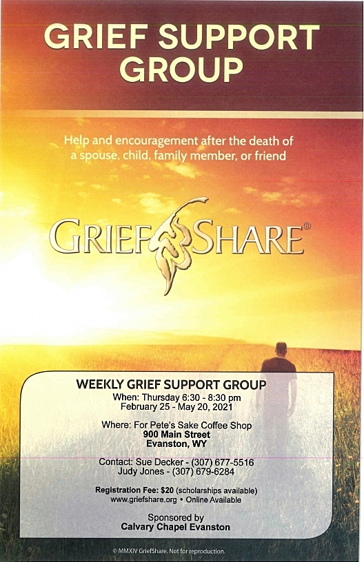 Flyer for weekly Grief Share meetings at For Pete's Sake Coffee Shop 900 Main Street Evanston, WY