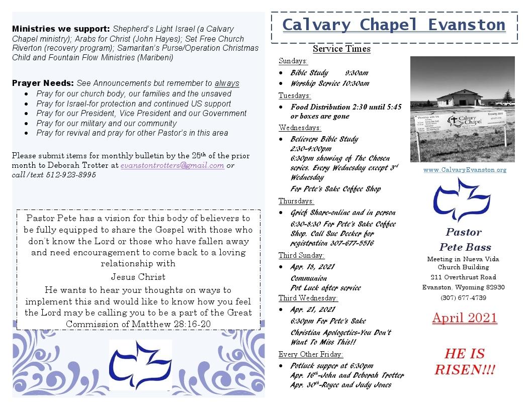 Calvary Evanston April 2021 Bulletin