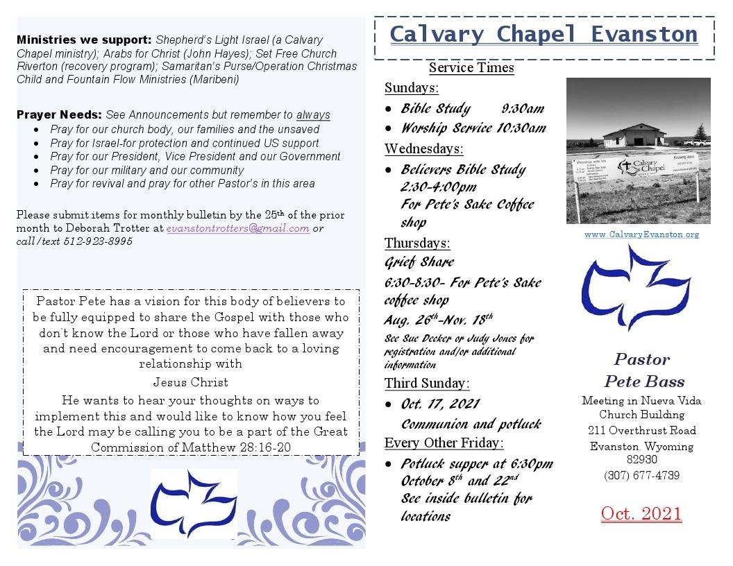 Calvary Evanston October 2021 Bulletin